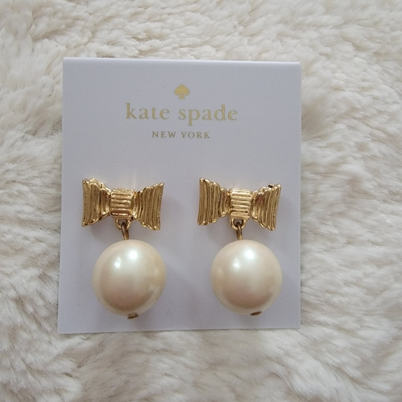 NWT Kate Spade Gold Earrings with Hanging Pearls